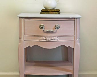 SOLD Vintage,  Hand painted,  French Provincial Nightstand, Child's French Provincial Nightstand, Pink Nightstand