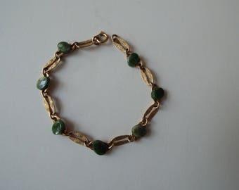 Forstner 1/20 12k GF goldfilled jade link  bracelet Asian 1960s