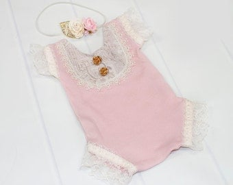 Preciously Pink - newborn romper in vintage dusty pink ribbed knit with darling bib front, lace trim and gold rose buttons (RTS) headband