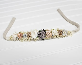 Silver Sand - darling dainty floral halo crown in grey, tan, dusty tea rose, blush, champagne, dusty peach and cream (RTS)