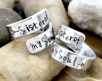 Matching Friendship Rings - Best Friend Rings - Sister of My Soul Rings - Hand Stamped Rings - Set of 2 Rings