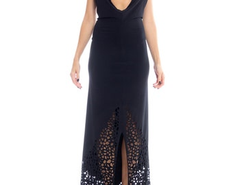 1980s Karl Lagerfeld Plunging Backless Slinky Jersey Gown Size: XS