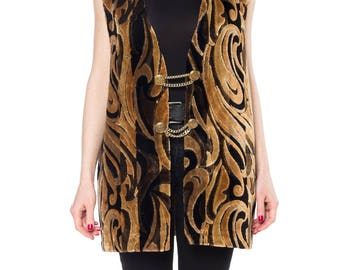 1960s Handmade Boho Chenille Vest Size: XL