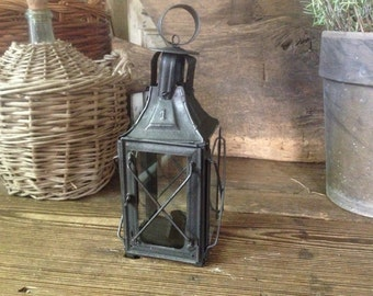 Rustic French Handcrafted Tin Lantern French Farmhouse Garden Lighting Decor Prop