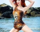 Tiger Print One Shoulder Swimsuit