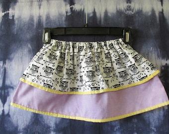 Girls Owl Skirt- 4T Skirt- Handmade Skirt- Toddler Skirt- Girls Skirt- Purple Skirt- Elastic Waistband- Purple and Yellow-  Black and White