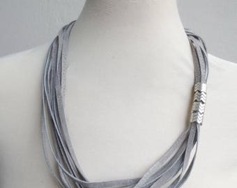 Grey String Suede Necklace Silver Spacers Minimalist Beaded Necklace Leather Jewelry