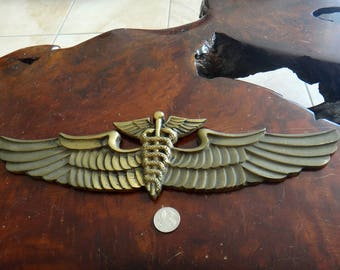 Vintage Large Brass WWII USAAF US Air Force Flight Surgeon Wings Wall Plaque