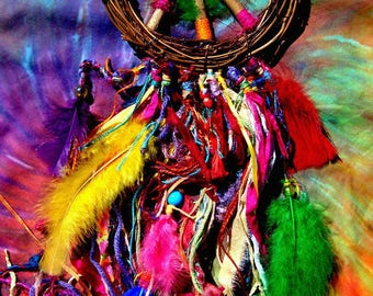 60s Inspired Jimi Band Of Gypsies Colorful Psychedelic Peace Sign Hippie Wreath OOAK