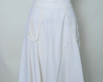 Vintage 1970s Skirt Cotton 70s A Line Summer Skirt with Tie Belt