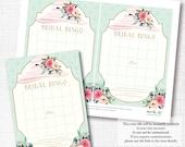 WEAR A HAT tea party bridal wedding shower BINGO game  southern floral bachelorette instant digital download diy printable file