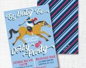 GO BABY GO Kentucky Derby 143 party invitation horse racing party run for the roses jockey navy blue red horse birthday invite