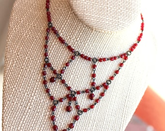 Vintage Czech Glass Chandelier Red Victorian Necklace // WestWorld // Beaded Necklace // 90s Goth // New Old Stock // N507