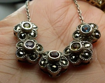 """Beautiful Sterling Silver Slide Bead Flower Necklace with Inlaid stones-16"""" long -7grms-topaz, citrine, garnet, amathyst-1884"""