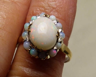 14kt Gold very old Opal Ring Sz 7.5 --Hallmarked-1730