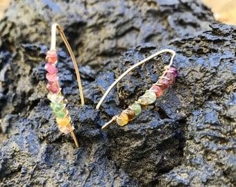 Rainbow Watermelon Tourmaline V Wire Earrings
