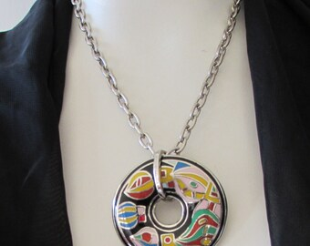 Vintage Enamel over Silver metal Statement Pendant Necklace retro Mod High Fashion