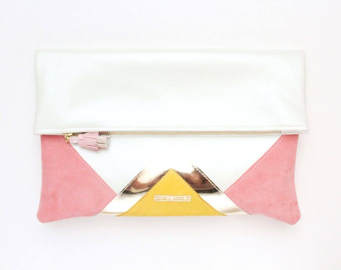 CARRIER 179 / Large clutch bag-leather purse-oversized metallic bag-white leather-rose gold white pastels-geometric purse- Ready to Ship