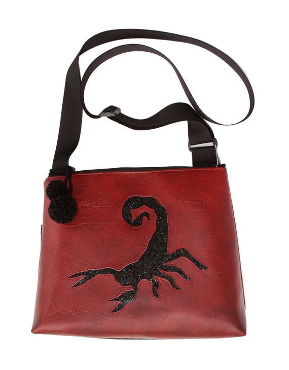Scorpion, dark red vinyl, glitter vinyl, pom poms, vegan, vegan leather, large, cross body bag