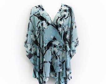 Pure Silk Birds and Blossom Crepe De Chine Crossover Wrap Kaftan Kimono by LaMolli