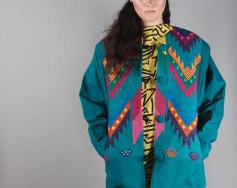 Vintage Handmade Guatemalan Beautiful Teal Green Rainbow Jacket