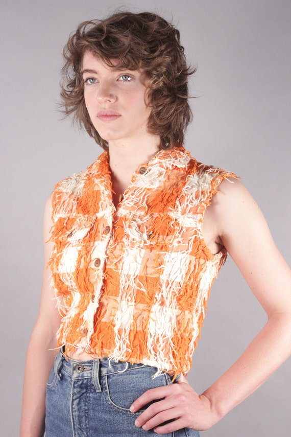 90s Orange/White Gingham Jean Vest w Yarn Fringe & Wood Buttons