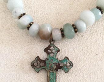 Amazonite Bead Stretch Friendship Bracelet with Patina Cross Charm
