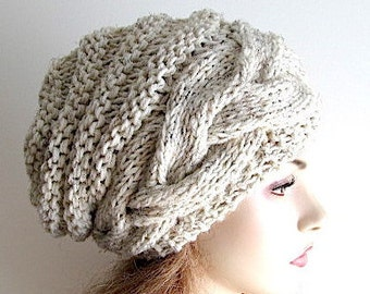 Slouchy Beanie Slouch Wool Beehive Hats Braided Cable womens fall winter accessory Oversized Baggy Wheat Grey Chunky Hand Made Knit