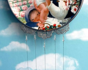 Spring Blossoms Up Cycled Collectible Plate Wind Chime...In Memory of Lillian