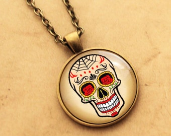 Sugar Skull Pendant - Rose, Spider Web, Halloween Day of the Dead, Rockabilly, Tattoo Necklace, Sugarskull jewellery Mexican, skeleton