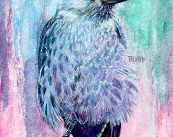"Top quality A5 art print ""Naakka"" Jackdaw crow painting 310gsm"
