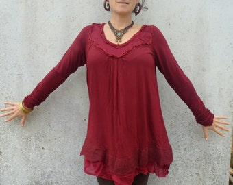 Ruffle smock dress ~ Felt edged ~ Viscose shift dress ~ Lagenlook tunic ~ Woodland clothing ~ Pixie dress