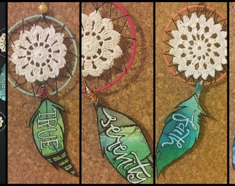 Hand Made Dream Catchers with powerful and inspirational words to encourage and support big dreams and tiny wishes FREE SHIPPING serenity