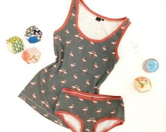 Tank, Tank Top, Top, Underwear, Singlet, Flamingo Print, Flamingo Tank, Flamingo Top, Organic Tank Top, Organic Cotton Underwear, Yoga Tank