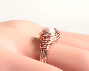 Pink Pearl Ring, Rose Gold and Pearl Ring, Rosegold Ring, Gold Filled Wire Rings