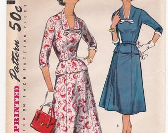 "FF 1950s Bust 37"" Women's Two Piece Dress Detachable Neck Trim in Half Sizes Vintage Sewing Pattern [Simplicity 1466] Size 18 1/2, UNCUT"