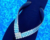 Jewel Havaianas Flip Flops or Wedge Heel Custom w/ Swarovski Crystal Ice Cap 3D Aquamarine Something Blue Wedding Beach Bridal Bling Shoes