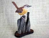 Carolina Wren Bird Wood Carving, Hand Carved Bird, Bird Sculpture, Wildlife Art, Bird Carving, Bird Figurine, Woodcarving By Mike Berlin