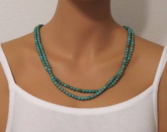 Turquoise Necklace Long Single Strand Small 5mm to 6mm Round Beads Beaded
