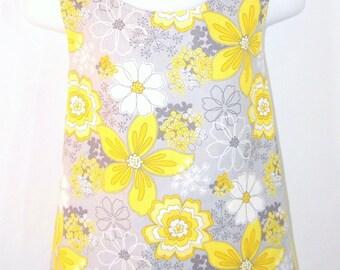 Girls Flower Pinafore Dress-size 12 Months - 2T, Toddler Dress, Tunic Dress, Crossover Dress, Criss Cross Dress