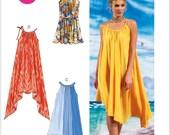 UNCUT Misses' Dress Sewing Pattern McCall's 6743 Size L-XXL Maxi Dress, Midi Dress, Handkerchief Hem, Summer, Beach Cover Up
