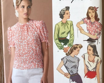 UNCUT Misses' Shirt Sewing Pattern Simplicity 0592 or 1692 Size 6-8-10-12-14-16-18-20-22 - 1940's Style , Blouse,Long Sleeve, Short Sleeve