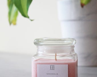 SALE | Magnolia soy candle | clear square jar | Three Silent Trees