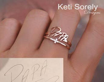 10K, 14K or 18K Solid Gold or Silver Signature Ring With Stacking Sideways Cross Ring in Yellow Gold,Rose Gold, White Gold