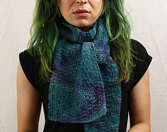 Hand Knit Scarf - Variegated (Blue)