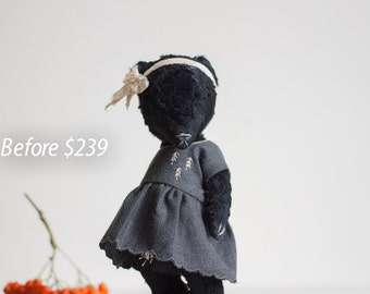 SALE 25% OFF Black Mohair Handmade Teddy Bear Gray Babydoll Embroidered Wool Dress Gift For Her Stuffed Animal Toy 8 Inches Free Shipping
