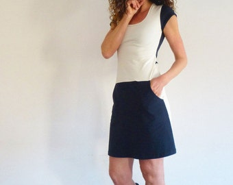 Dress with pockets, short-sleeved, Navy and white