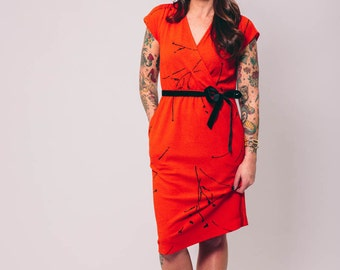 vintage red wrap dress | small | the fire dress