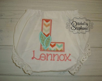 Custom personalized monogrammed name tribal feather arrow initial ruffled eyelet bloomers panties diaper cover