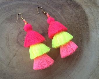 Neon Tassel Stack Earrings Festival Tassel Earrings Tassle Earings BOHO Chic Earrings Gypsy Tassle Jewelry Trending Wholesale Jewelry